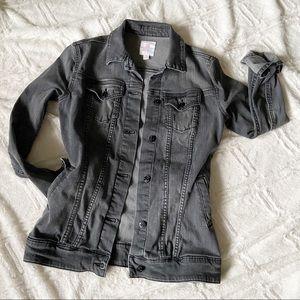 Lularoe Denim Jacket Black Gray Buttoned Stretch